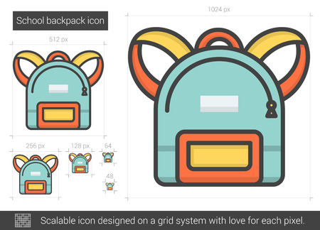 School backpack line icon. Illustration