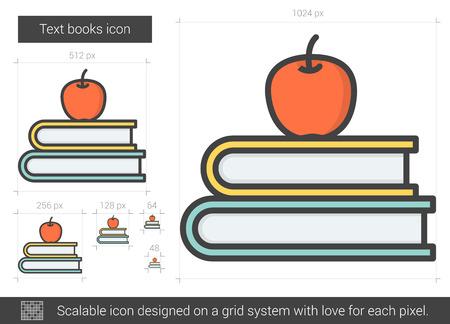 Text books line icon. Vettoriali