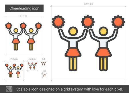 Cheerleading line icon.