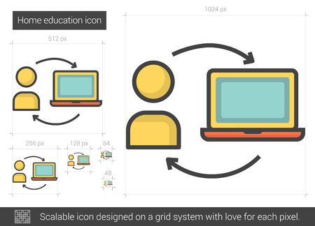 Home education line icon. Illustration