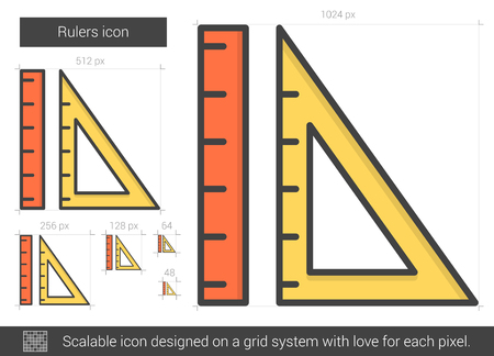 scale icon: Rulers line icon. Illustration