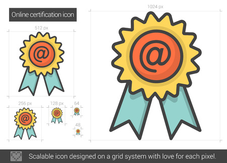 online degree: Online certification line icon.