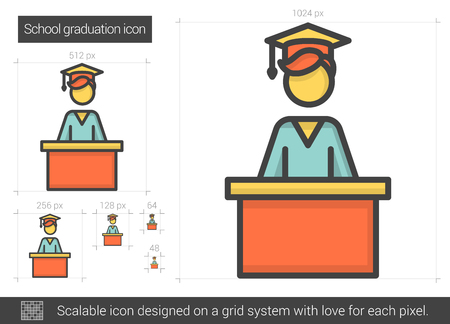 master degree: School graduation line icon.