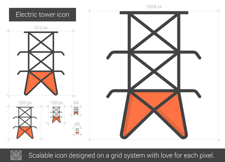 Electric tower line icon. Illustration