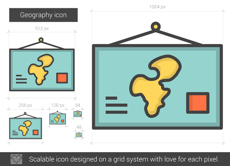geography: Geography line icon. Illustration