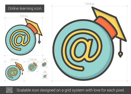 Online learning line icon.