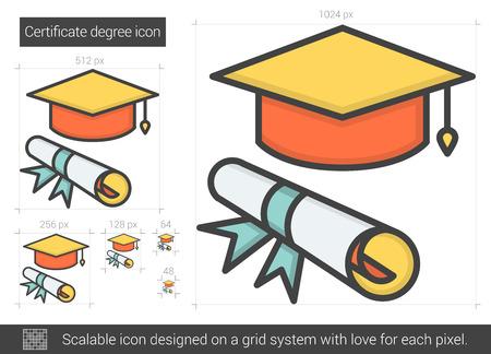 Certificate degree line icon.