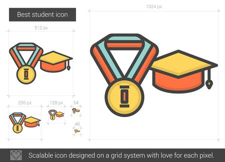 master degree: Best student line icon. Illustration