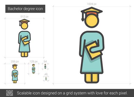 bachelor: Bachelor degree line icon. Illustration