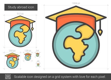 master degree: Study abroad line icon.