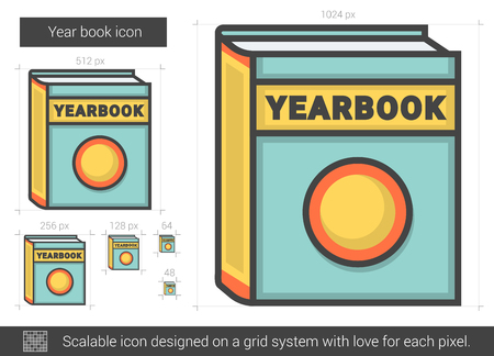 Year book line icon.