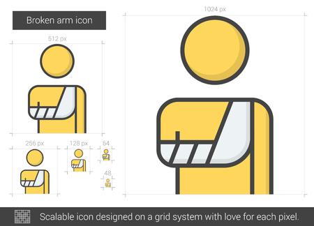 broken arm: Broken arm line icon.