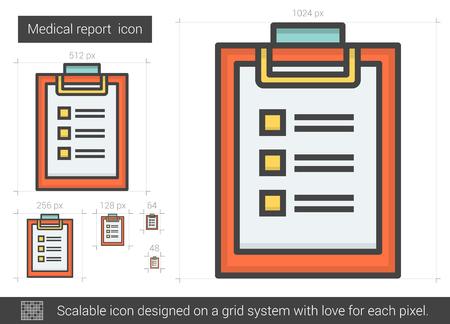 report icon: Medical report line icon. Illustration