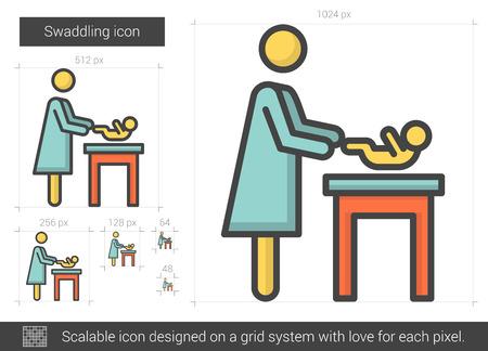 swaddle: Swaddling line icon. Illustration