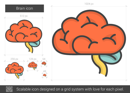 Brain line icon. Illustration