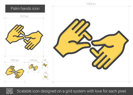 Palm hands line icon. Illustration