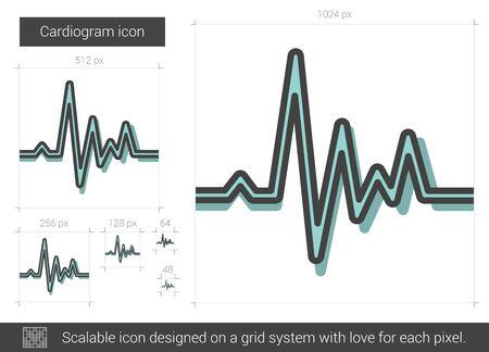 pulsating: Cardiogram line icon.
