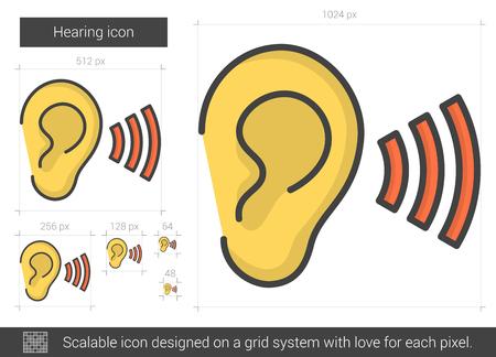 acoustics: Hearing line icon.