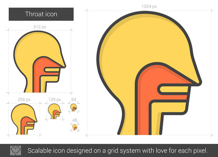 throat: Throat line icon. Illustration