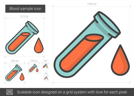 examine: Blood sample line icon. Illustration