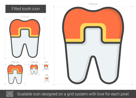 Filled tooth line icon. Illustration