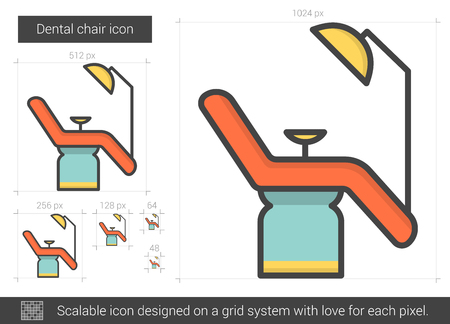 Dental chair line icon. Illustration