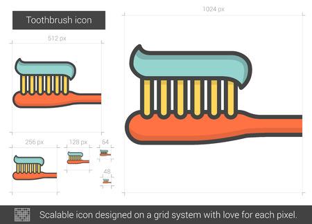 歯ブラシ線アイコン。
