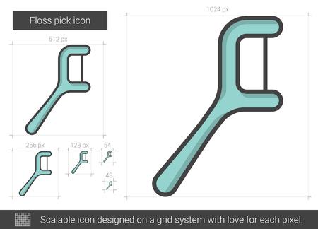 Floss pick line icon.