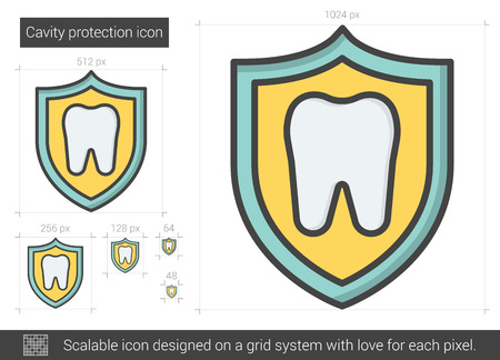 protection line: Cavity protection line icon.
