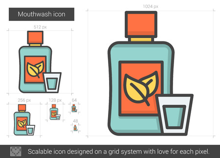 cleanliness: Mouthwash line icon. Illustration