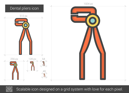 pinchers: Dental pliers line icon.