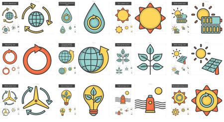 Ecology line icon set. Иллюстрация