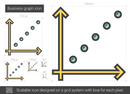 upward movements: Business graph line icon.