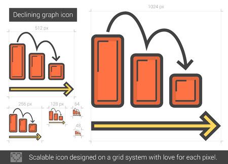 descending: Declining graph line icon.