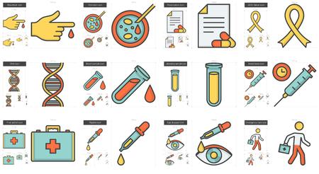 Geneeskunde lijn icoon set.