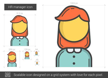 manager: HR manager line icon.