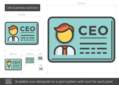 ceo: CEO business card line icon. Illustration