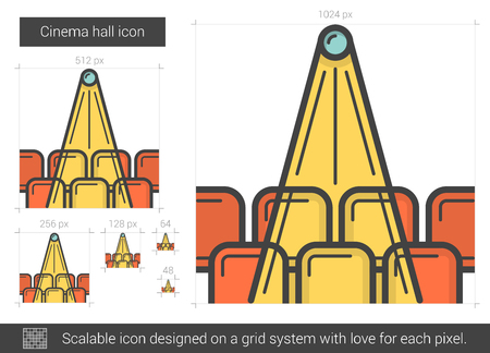 Cinema hall vector line icon isolated on white background. Cinema hall line icon for infographic, website or app. Scalable icon designed on a grid system. Illustration