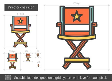 Director chair vector line icon isolated on white background. Director chair line icon for infographic, website or app. Scalable icon designed on a grid system.