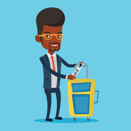 African-american business man showing luggage tag. Illustration