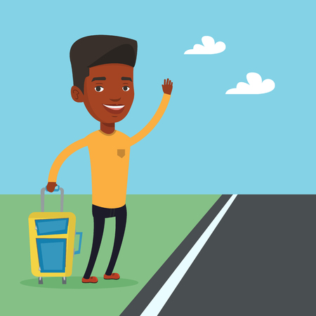 African man hitchhiking vector illustration.  イラスト・ベクター素材