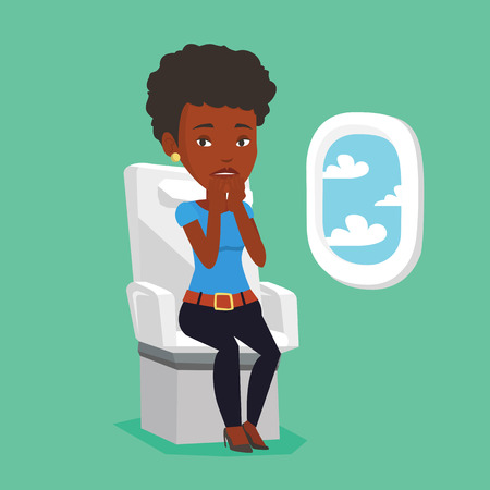 terrified: Young woman suffering from fear of flying. Illustration