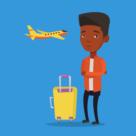 terrified: Young man suffering from fear of flying. Illustration
