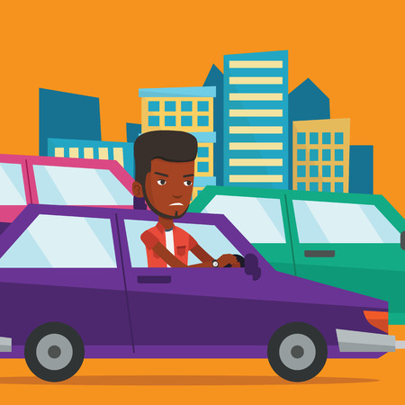road rage: Angry african man in car stuck in traffic jam. Illustration