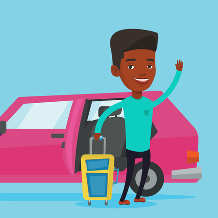 African-american man traveling by car. Illustration