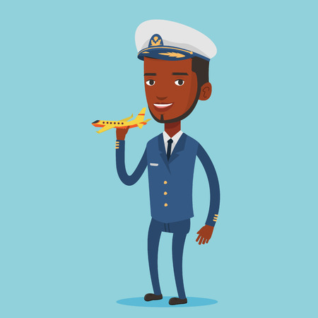 airline pilot: Cheerful airline pilot with model of airplane. Illustration