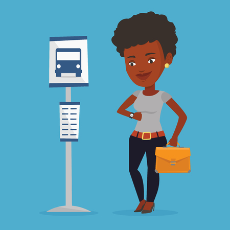 Woman waiting at the bus stop vector illustration. Illustration