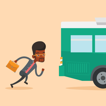 Latecomer man running for the bus. Ilustracja