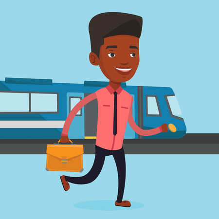 Business man at train station vector illustration