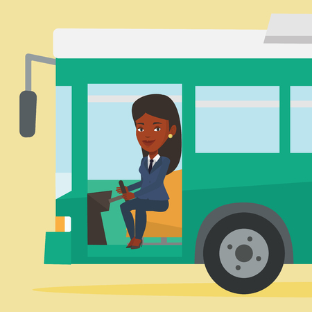 African bus driver sitting at steering wheel. Illustration